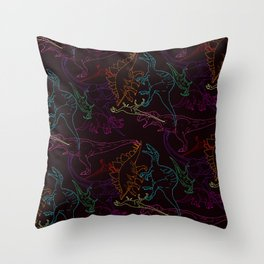 Psychedelic Dino Throw Pillow