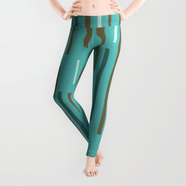 Interrupted Lines Mid-Century Modern Minimalist Pattern in Turquoise and Brown Leggings