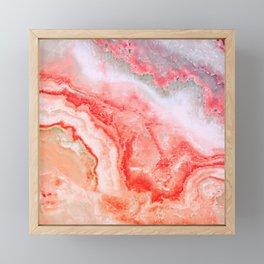 Luxury LIVING CORAL Agate Marble Geode Gem Framed Mini Art Print