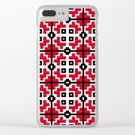 Traditional Romanian folk art knitted embroidery pattern Clear iPhone Case