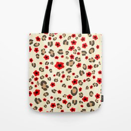 Romantic Leopard Print Pattern with Red Flowers Tote Bag