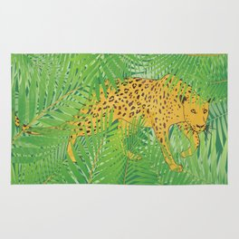 Leopard with tropical leaves Rug