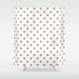 Small Polka Dots - Khaki Brown on White Shower Curtain