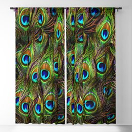Peacock Feathers Invasion - Wave Blackout Curtain