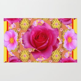 Fuchsia Pink Rose Patterns Sunflower YellowFloral  Art Rug
