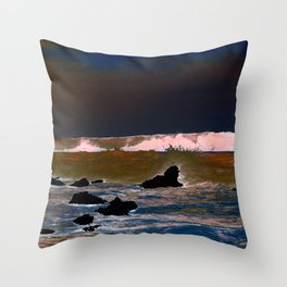 The Upside-Down State Beach Throw Pillow