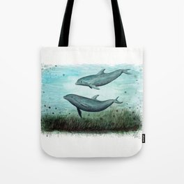"""""""Two Inshore Dolphins"""" by Amber Marine ~ Watercolor Painting, (Copyright 2015) Tote Bag"""