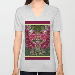 BURGUNDY ASIAN LILIES FLORAL MODERN ART Unisex V-Neck