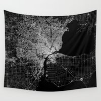 detroit Wall Tapestries featuring Detroit map  by Line Line Lines