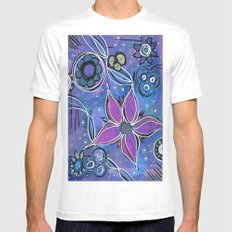 Purple Flowers Background Mens Fitted Tee MEDIUM White