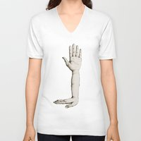 hands V-neck T-shirts featuring Hands by Bwiselizzy