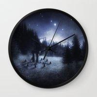 pagan Wall Clocks featuring Pagan Night by Silvana Massa Art