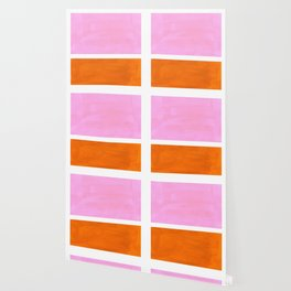 Pastel Neon Pink Yellow Ochre Mid Century Modern Abstract Minimalist Rothko Color Field Squares Wallpaper