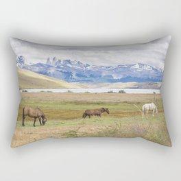 Torres del Paine - Wild Horses Rectangular Pillow
