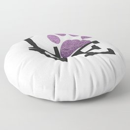 Love is a Four Letter Word - purple paw Floor Pillow