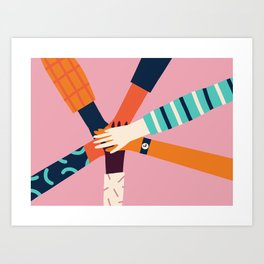 Holding hands circle Art Print