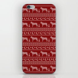 Ugly Christmas sweater | Czechoslovakian Wolfdog red iPhone Skin