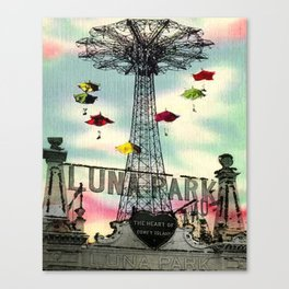 Coney Island - Luna Park Amusement park Vintage Mixed media Canvas Print