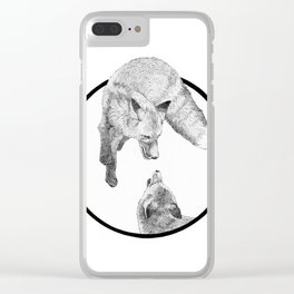 The Fox Playing - Animal Drawing Series Clear iPhone Case