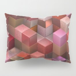 Artistic Cubes 09 pink red Pillow Sham