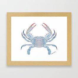 Tribal Blue Crab Framed Art Print