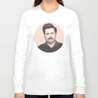 ron swanson Long Sleeve T-shirts featuring Ron Swanson by Alexia Rose
