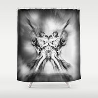angels Shower Curtains featuring Angels by haroulita
