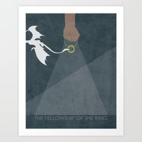 lord of the ring Art Prints featuring Lord of the Rings trilogy – The Fellowship of the Ring by MissQuote