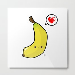 Baby Banana Kawaii Metal Print
