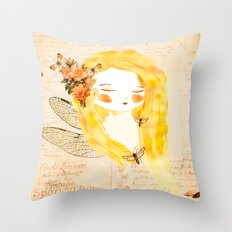 Insect girl Throw Pillow