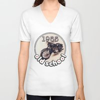 bmw V-neck T-shirts featuring Old School BMW by Guido prussia