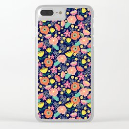 Night wild flowers Clear iPhone Case