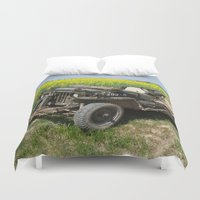 jeep Duvet Covers featuring Willys MB Jeep by EMangl