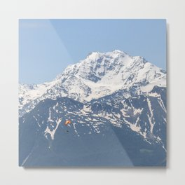 Swiss Alps and Paraglider Metal Print