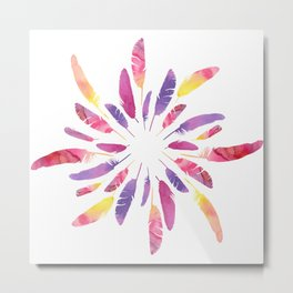 Wreath of colorful watercolor feathers Metal Print