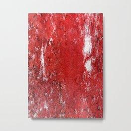 RED PAINTED BARNWOOD Metal Print