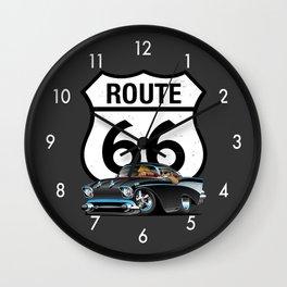 Route 66 Classic Car Nostalgia Wall Clock