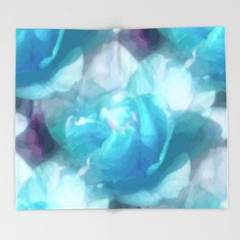 Turquoise abstracted tulips Throw Blanket