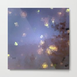 Abstract landscape with full moon and stars Metal Print