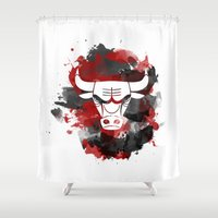 chicago bulls Shower Curtains featuring Bulls Splatter by OhMyGod, SoGood!