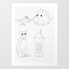 cat rock cat house Art Print