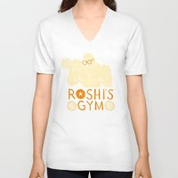 gym V-neck T-shirts featuring roshi's gym by Louis Roskosch