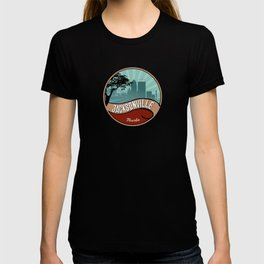 Jacksonville City Skyline Design Florida Retro Vintage 80s T-shirt