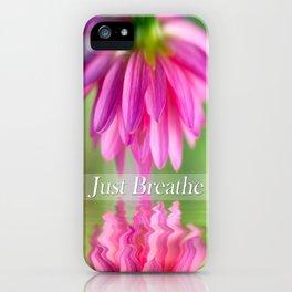 Just Breathe Pink Dahlia iPhone Case