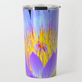 Blue-Purple Water Lilly Flower Travel Mug