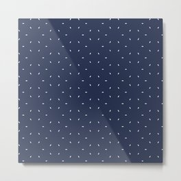Navy blue And White subtle pattern Metal Print