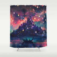 hot air balloon Shower Curtains featuring The Lights by Alice X. Zhang