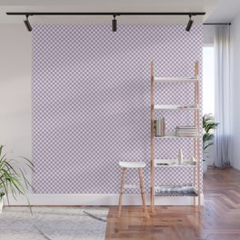 Chalky Crocus Purple and White Mini Check 2018 Color Trends Wall Mural