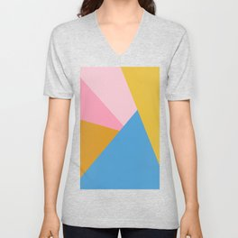 Cute Colorful Diagonal Color Blocking Unisex V-Neck