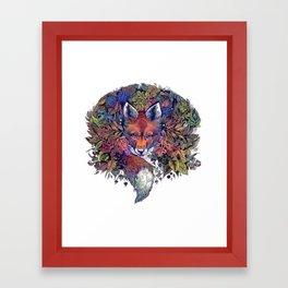 Hiding fox rainbow Framed Art Print